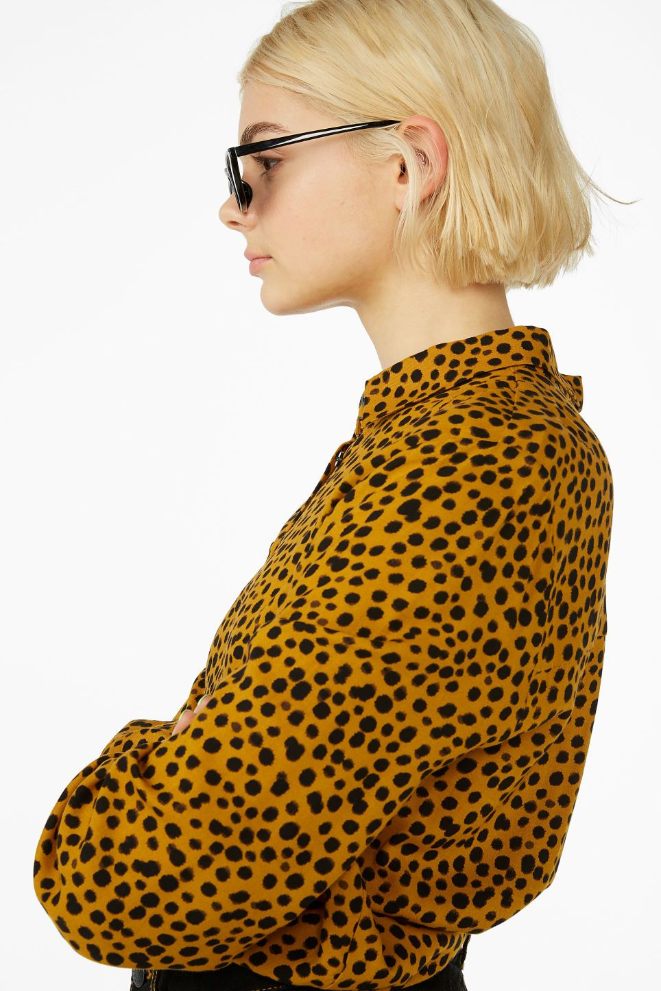 50f9018f451 Model front image of Monki classic button-up shirt in yellow | what ...