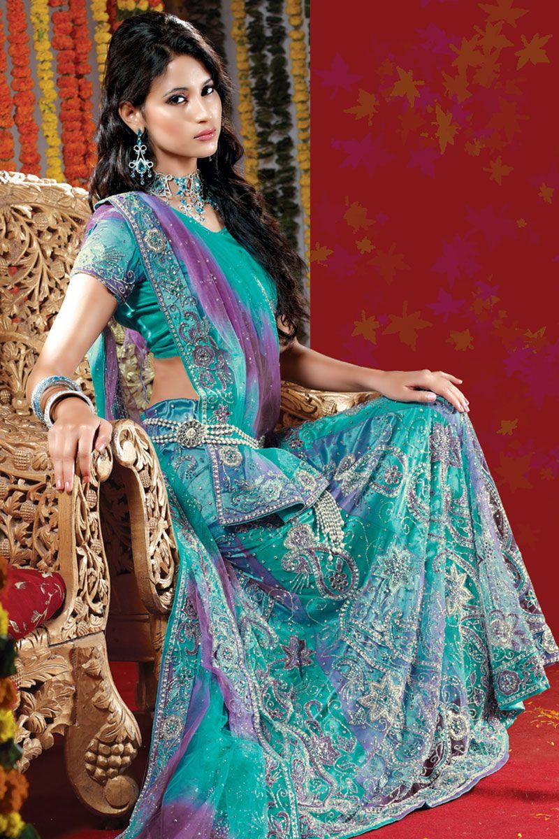 Designer wedding lehenga choli turquoise blue wedding and bridal