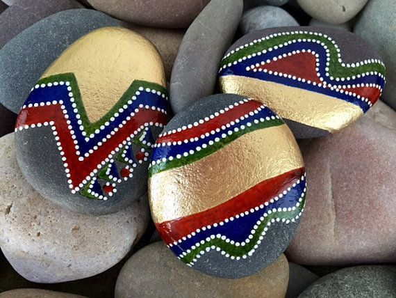 Across the Universe / Gold rush / painted rocks / painted stones / Sandi Pike Foundas / Cape Cod / home decor / hand held art - Lauralee