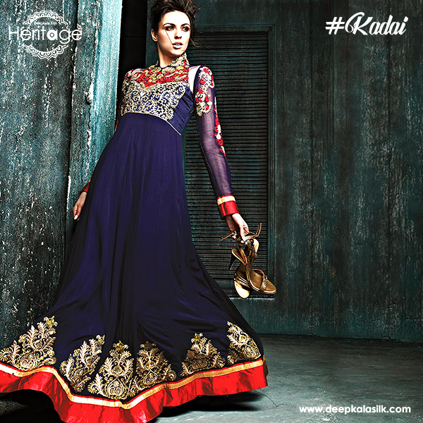 Rs. 6090 http://www.deepkalasilk.com/royal-blue-and-red-georgette-anarkali.html