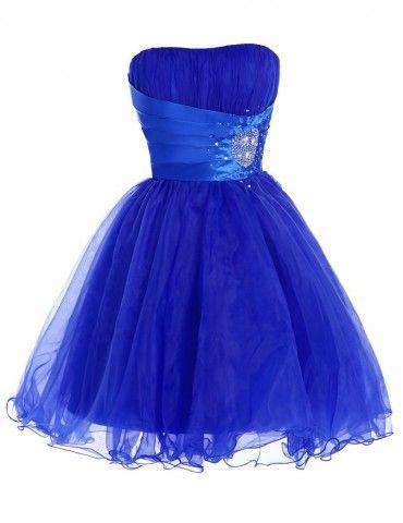 Fashion Sweetheart A-line Beading Royal Blue Short Organza Homecoming Dresses