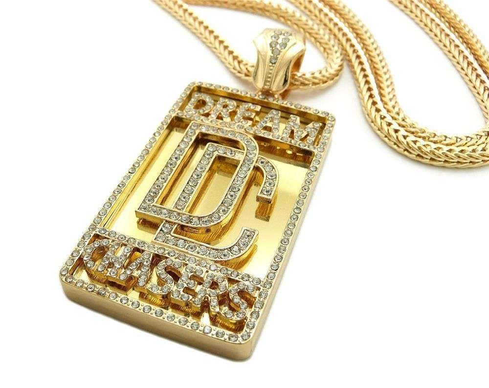 Iced out dream chasers pendant franco chain necklace meek mill hip iced out dream chasers pendant franco chain necklace meek mill hip hop gold pendant aloadofball Image collections
