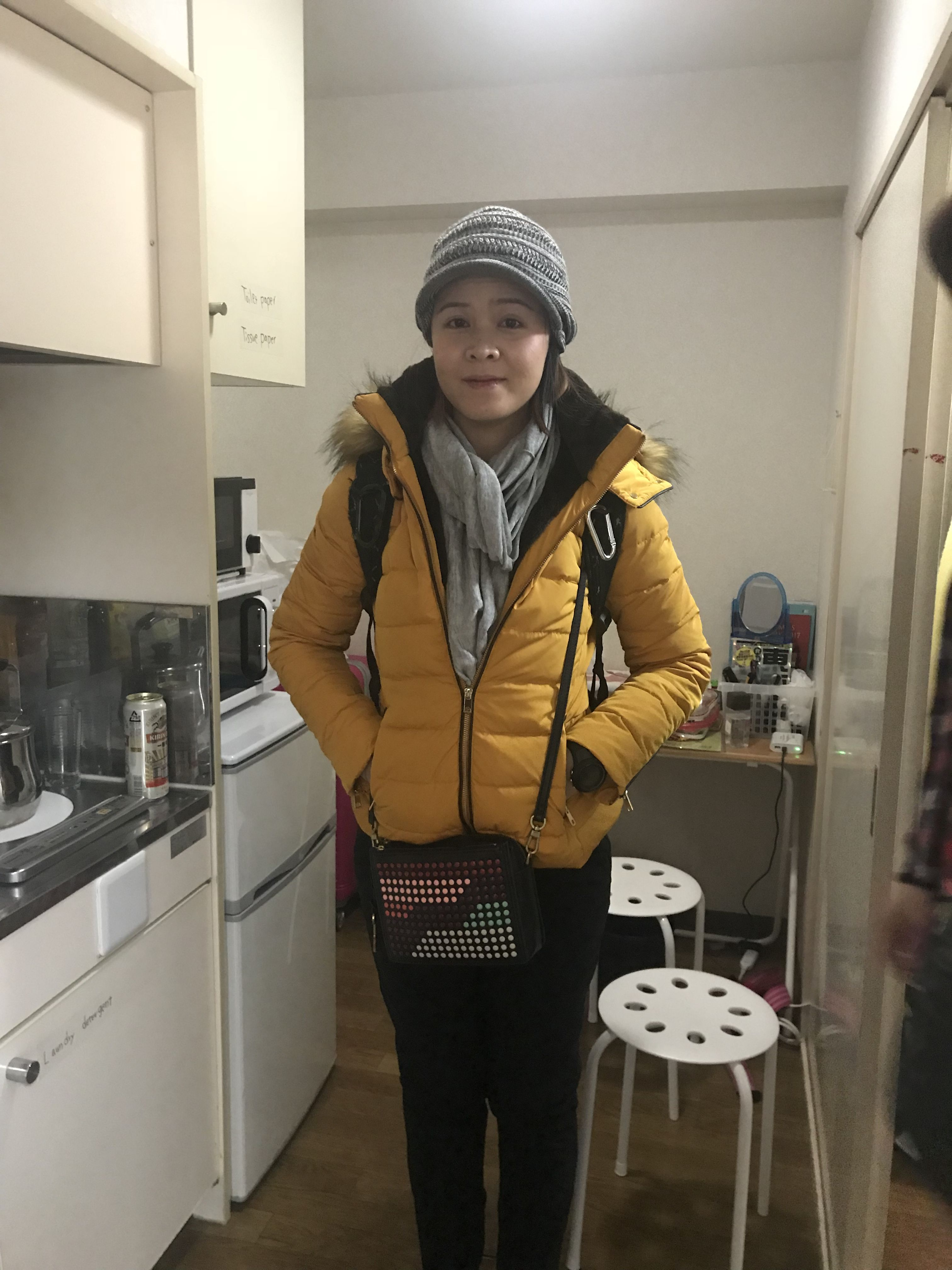 fcaec31442 OOTD: Winter Hat - Daiso , Scarf - H&M , Winter Jacket - Zara - Crossbody  Bag - Fossil Campbell , Heattech Pants - Uniqlo. Occasion- at a small  airbnb going ...