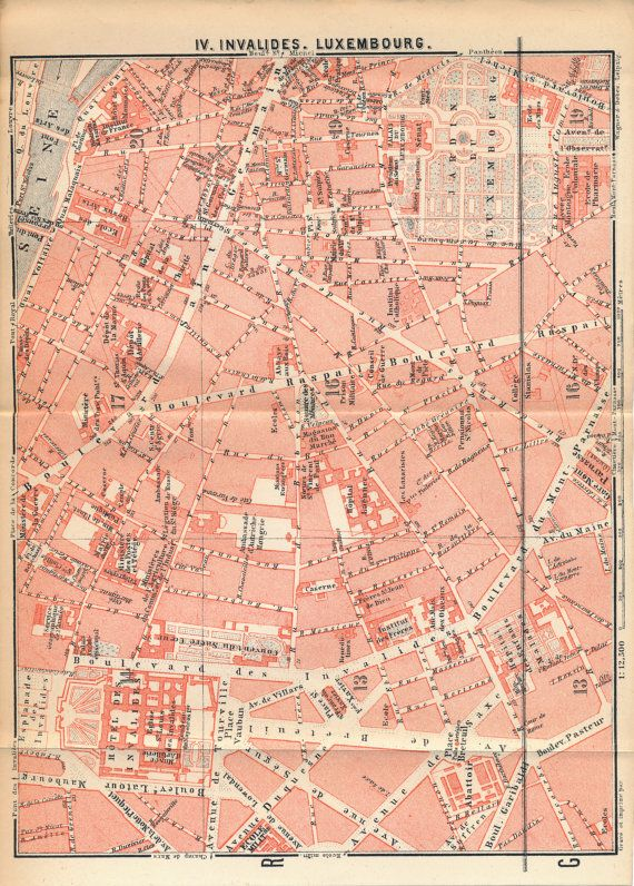1896 Antique Street Map of Paris, France | Antique City Maps ...