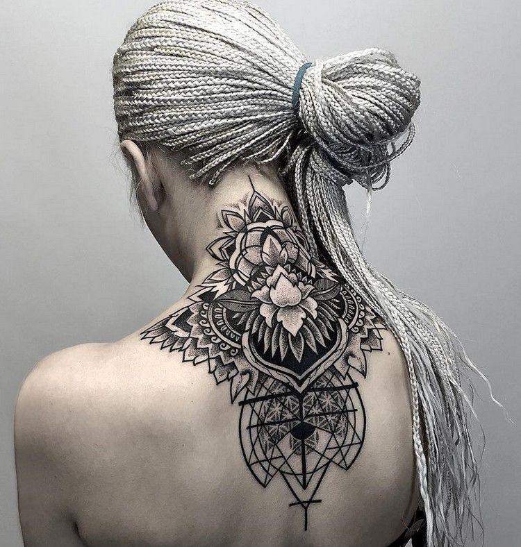 nacken r cken tattoo mit mandala caras tattoos tattoo ideas pinterest r cken tattoo. Black Bedroom Furniture Sets. Home Design Ideas