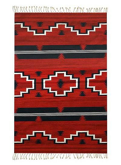 Zapotec Area Rug 4x6 Red Fire Crosses Novica 4x6