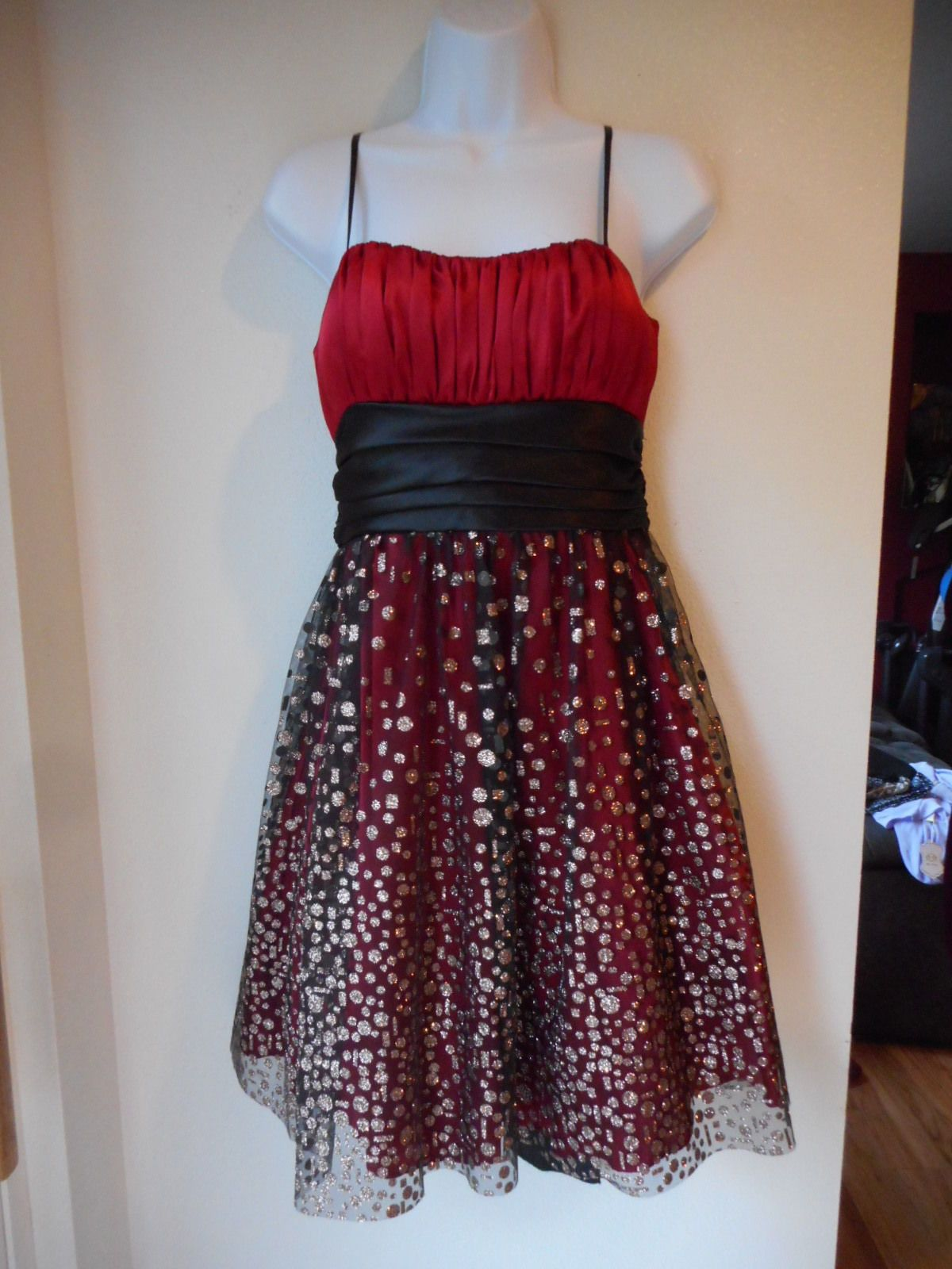Awesome amazing preowned blondie nites dress size red sheer black