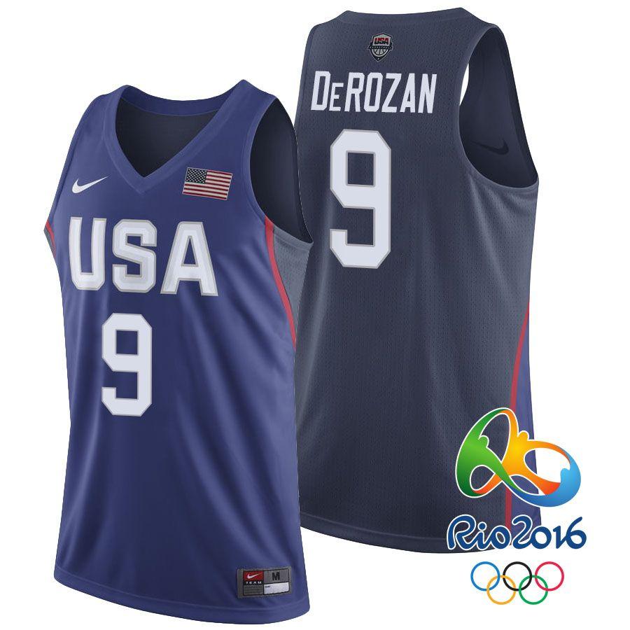9d5dd0ee464 2016 Olympics USA Dream Team  9 DeMar DeRozan Navy Swingman Jersey ...