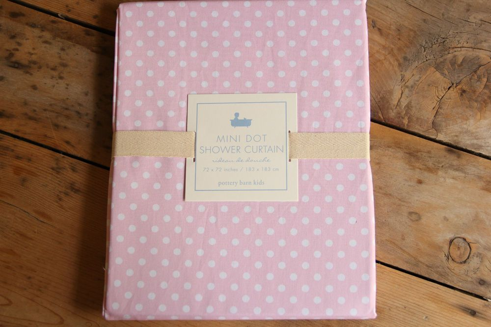 Nwt Pottery Barn Kids Pink Mini Polka Dot Shower Curtain