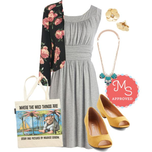 In this outfit: I Love Your Dress in Stone, Tick Tick Bloom Jacket, Sparkle in the Sunlight Earrings, Ceremonious Style Necklace, One, Cute, Three Heel, Bookshelf Bandit Tote in Max #simple #casual #modcloth #ootd #fashion #spring #springfashion #outfits #booklover #cute #florals #pastels