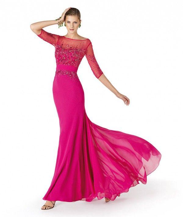 Vestido de fiesta para damas de boda en color rosa intenso con ...
