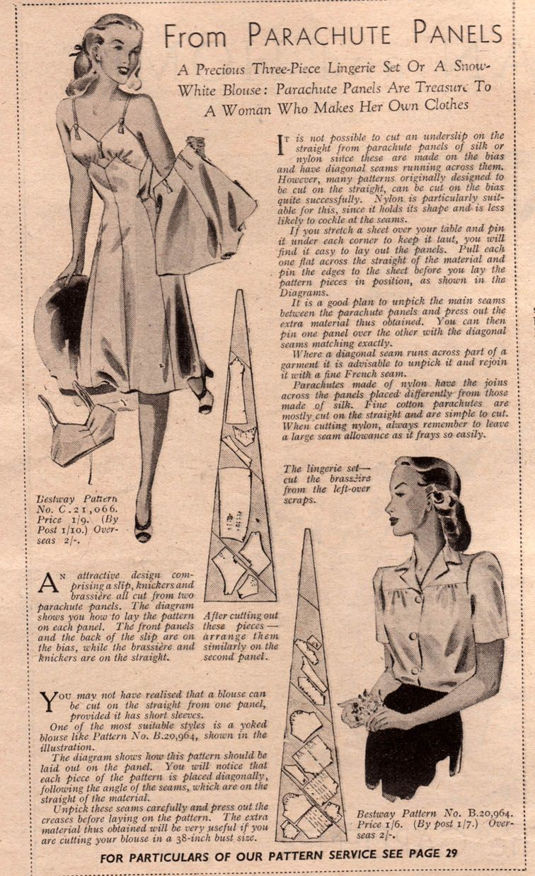 e26c9b5380b9a Lingerie from parachute panels; make do and mend, wartime lingerie, 1940s  fashion