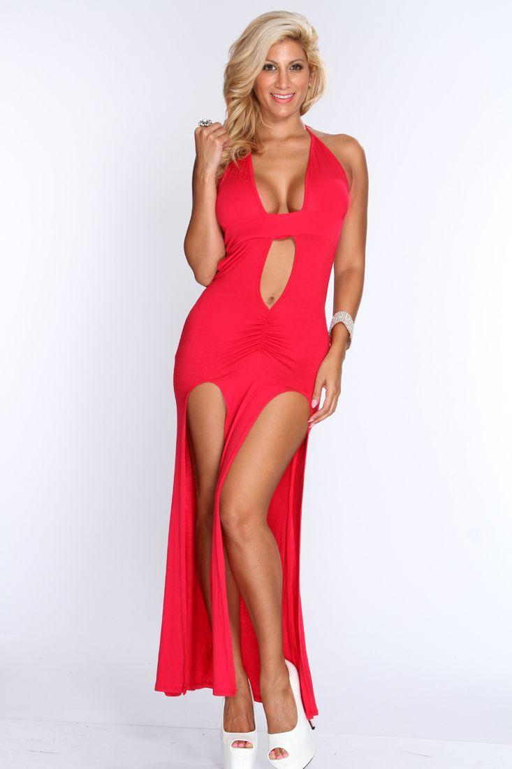 Red Double Slit Sexy Maxi Dress  7f2ec5ffe6fc