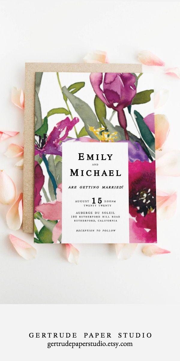 Boho Pink Watercolor Wedding Menu C Bridal Shower Menu C Shabby Chic Wedding Decor C Instant Download C Personalized Printable Menu Template 15