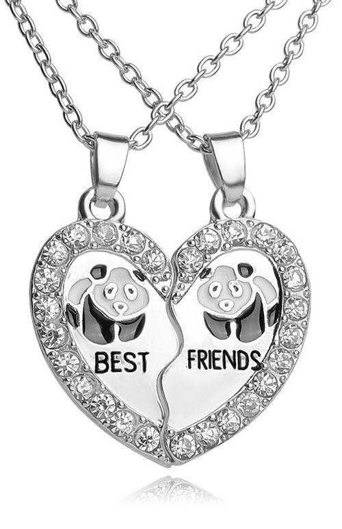 2f38031ac9 Best Friend SLOGAN Necklace Friendship Long Chain Rhinestone Necklace
