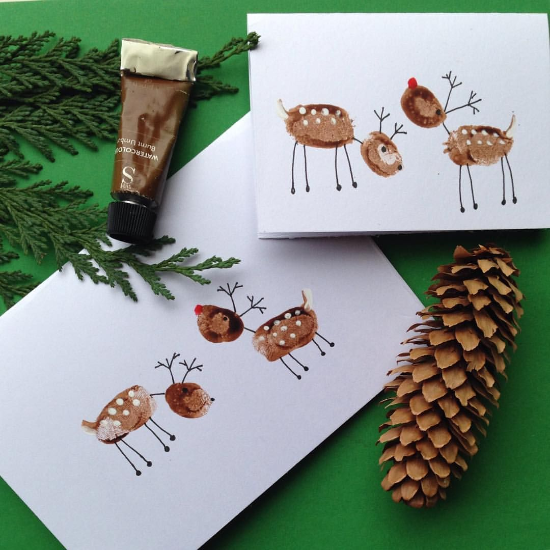 The last of christmas cards fingerprint robins got me thinking what else might also best easy diy card ideas and ts rh br pinterest