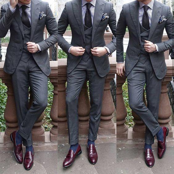 Charcoal suit. Burgundy shoes. @menslaw