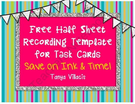 FREEBIE Recording Template for Task Cards *FREE* from A Class Act on - line sheet template download