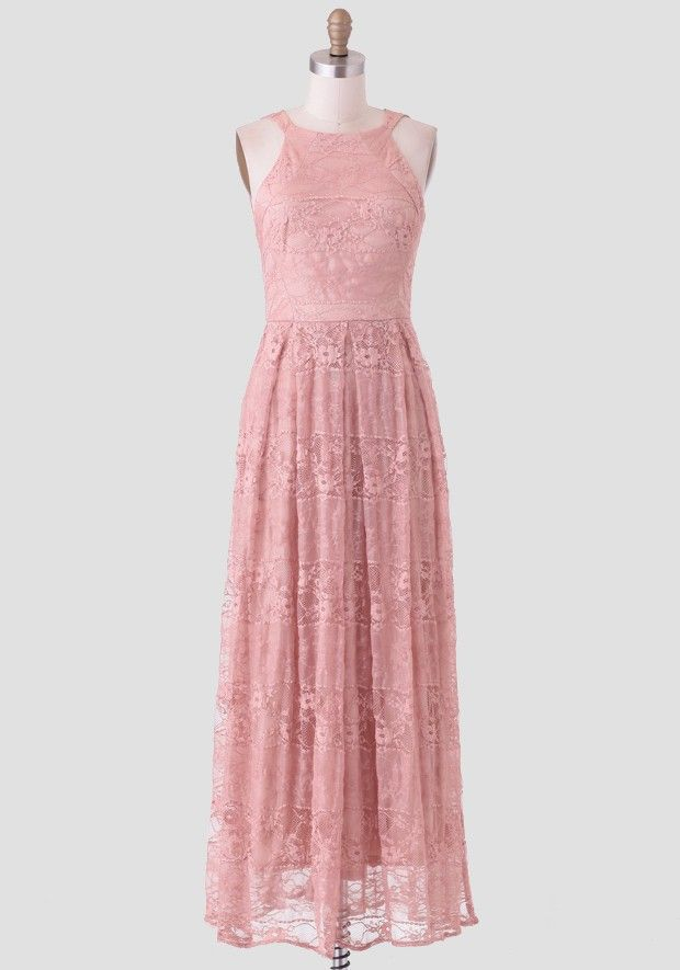 Stunning and elegant, this dusty peach maxi dress features delicate ...