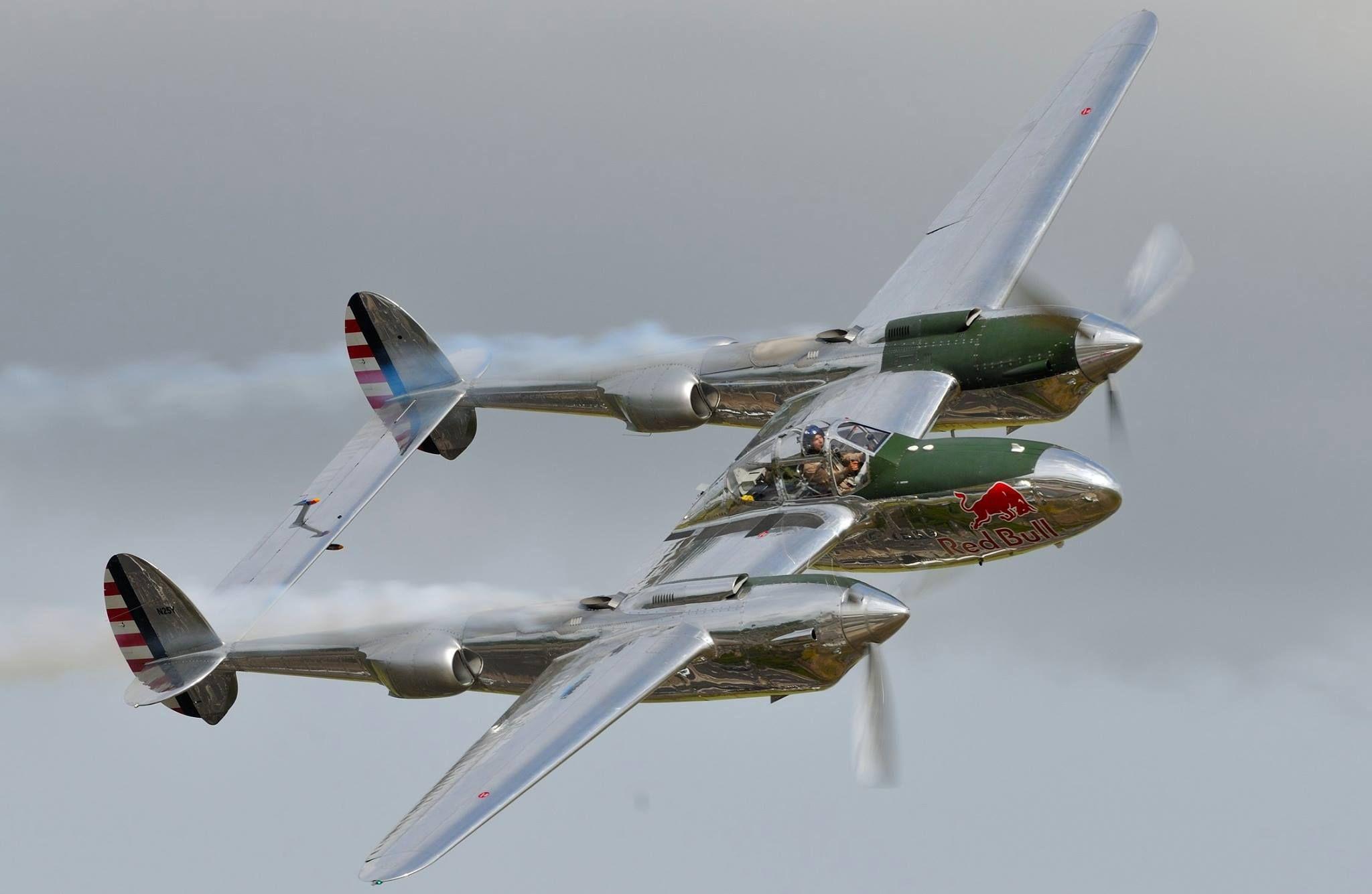 """Lockheed P-38 """"Red Bull"""" Duxford yesterday."""