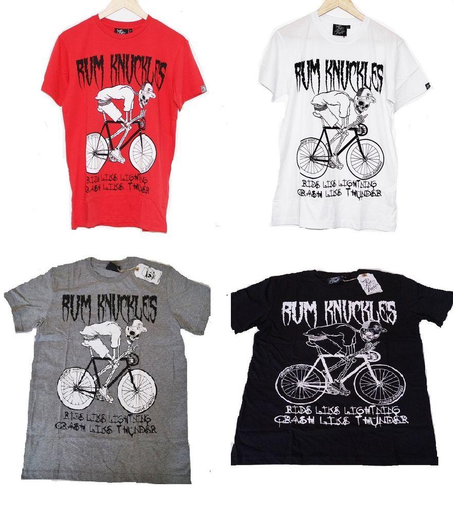 Black t shirt ebay - Rum Knuckles Men S Rider T Shirt Tee Black White Red Grey E4c