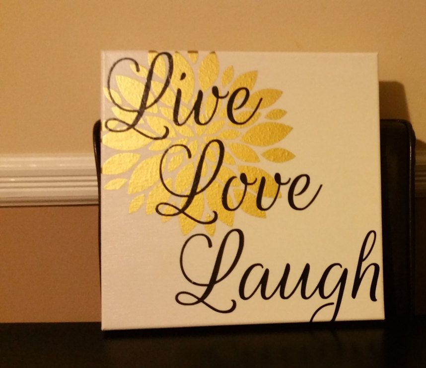 Canvas sign, Wall hanging, Inspirational quot-Live/Love/Laugh, House ...