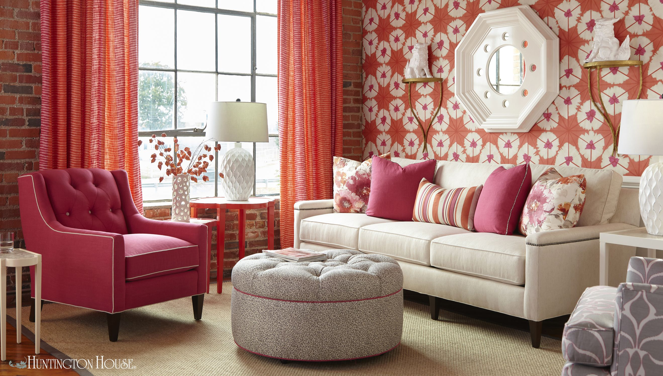 Feeling Bold Try This Gorgeous Citrus Orange And Hot Pink Color Combination To Breathe Some Life Into Your Living Room Shown H Room Sofa Colors Bedroom Decor