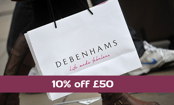 10% off at Debenhams with discount code JN27. Valid on purchases over £50 made online on Debenhams UK website.