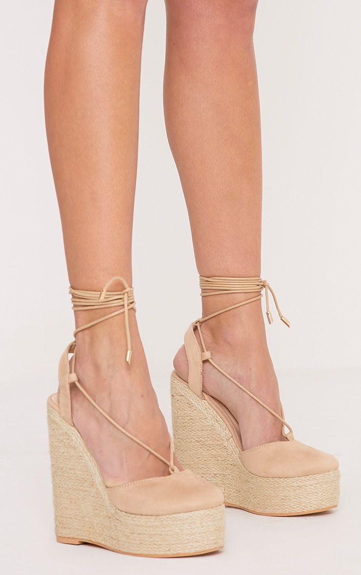 cb1a9294e019 Aniesha Nude Faux Suede Tie Ankle Wedges