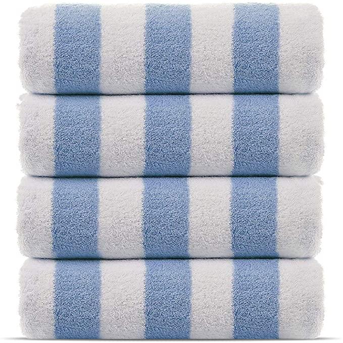 Amazon Com Premium Quality 100 Cotton Turkish Cabana Thick Stripe Pool Beach Towels 4 Pack Light Blue 30 Turkish Towels Beach Luxury Pool Towel Pool Towels