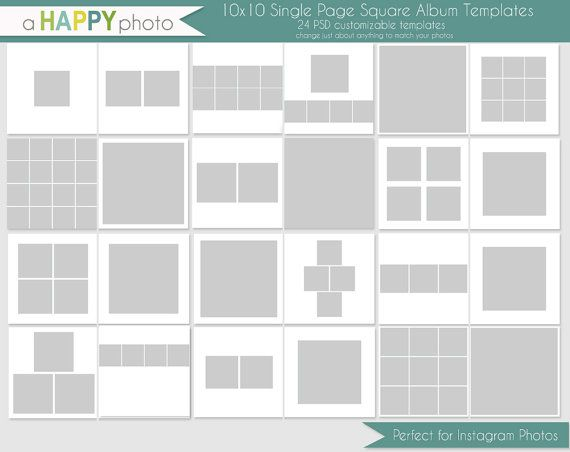10x10 Instagram Square Album template, 24 SINGLE page spreads - free album templates