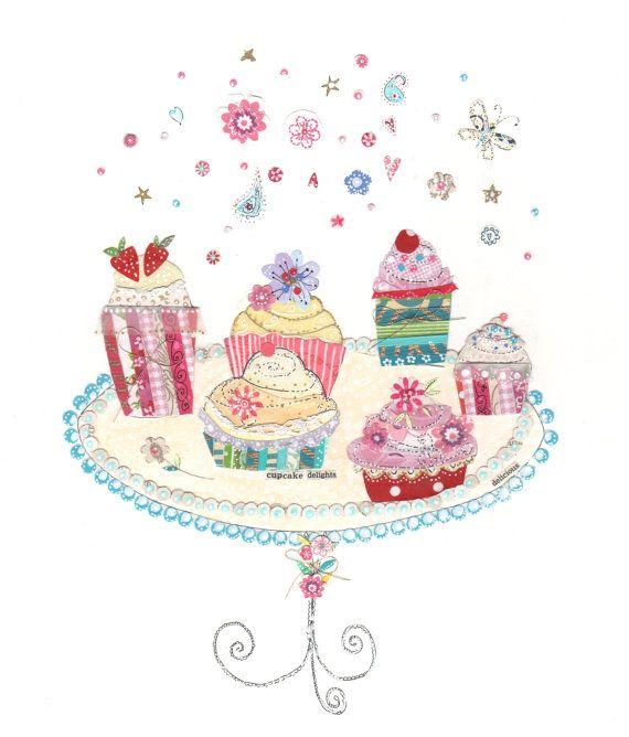 kitchen wall art  cupcake delights