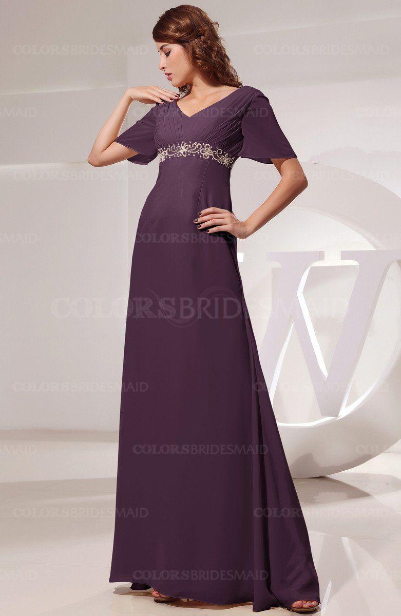 Plum Modest Short Sleeve Chiffon Floor Length Beading Bridesmaid Dresses