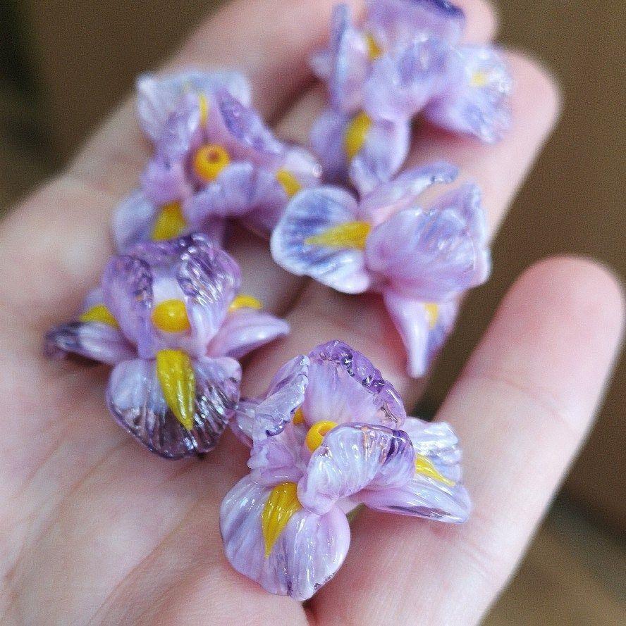 MTO Iris DArk Lilac Flower Lampwork Pair for earings