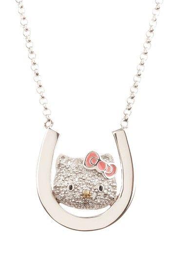 4e6b6a4a4 White Sapphire Hello Kitty & Horseshoe Pendant Necklace. | Kids ...