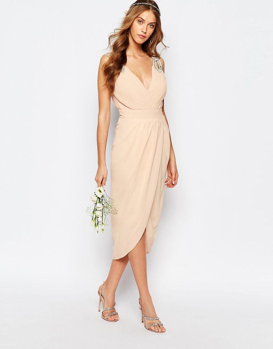 Image 4 of TFNC WEDDING Wrap Embellished Midi Dress