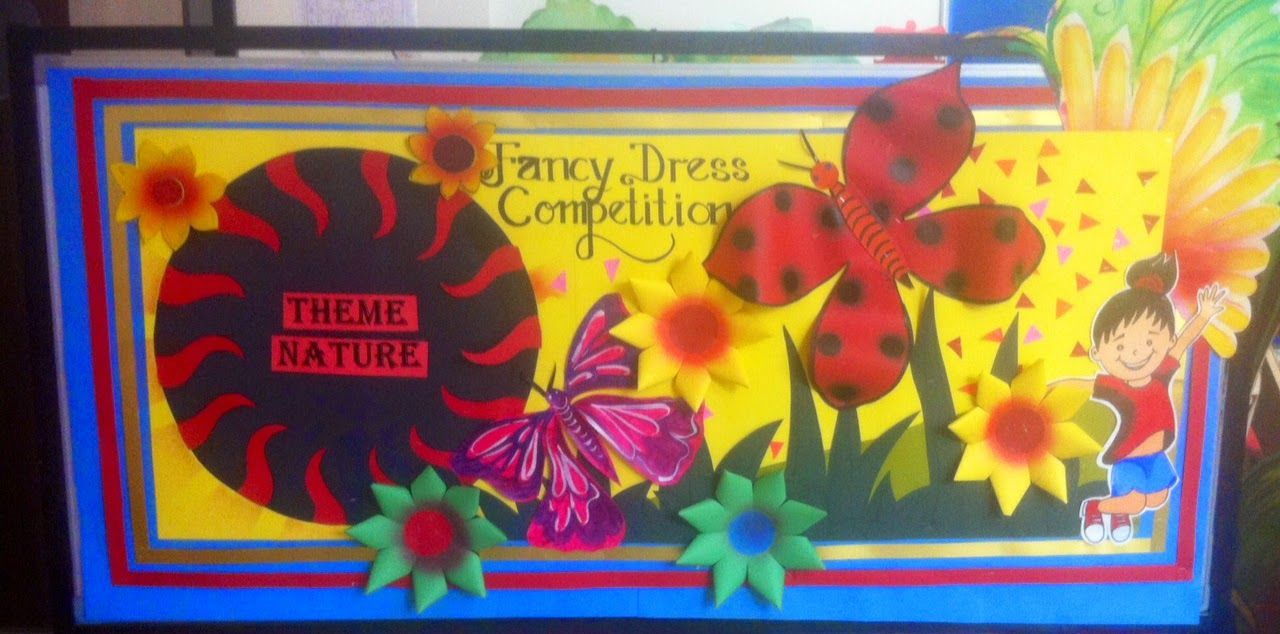 Art Craft Ideas And Bulletin Boards For Elementary Schools Bulletin Board For Fancy Dress Competition Fancy Dress Competition Class Decoration Fancy Dress