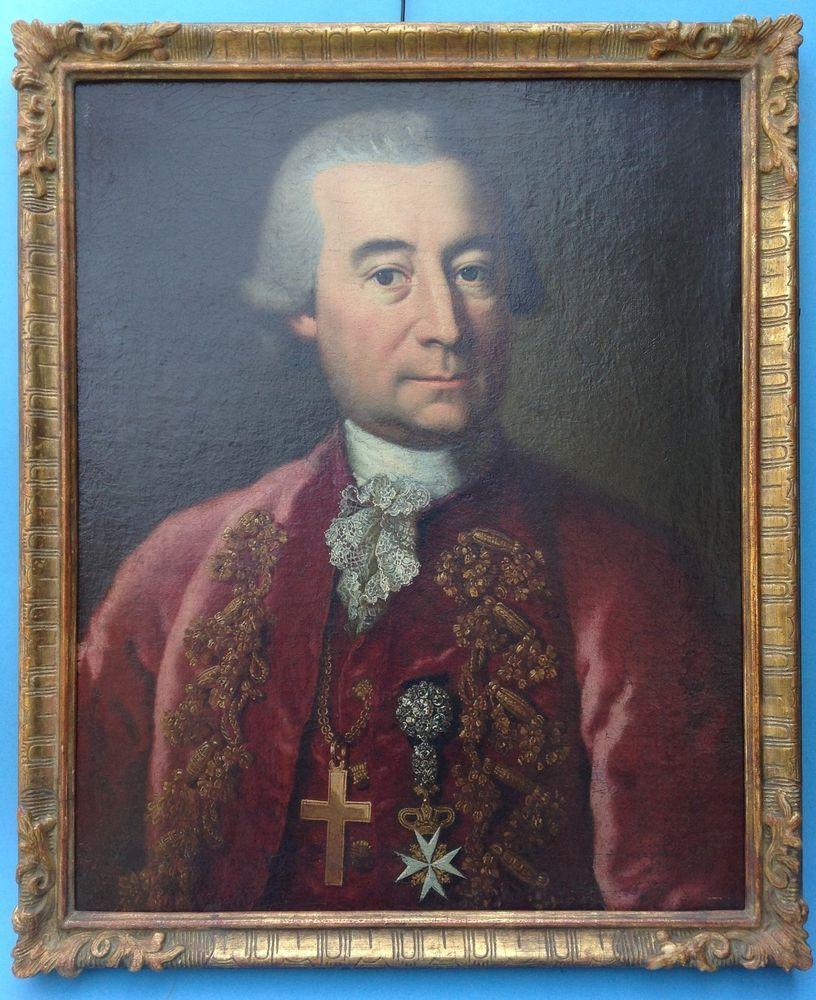 Gemälde Porträt Adel Herr Souveräner Malteser Ritterorden Finnland Finland ~1750