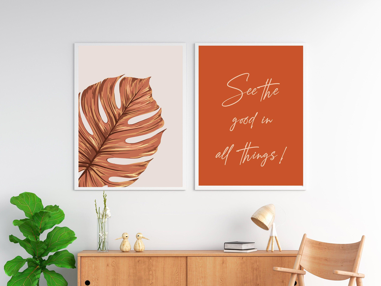 Abstract burnt orange set of 2 prints digital download