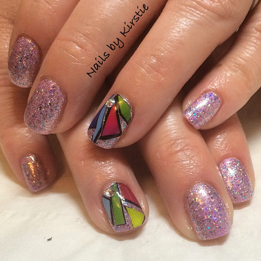 Cnd Shellac Beckoning Begonia With Lecente Multi Glitz Glitter