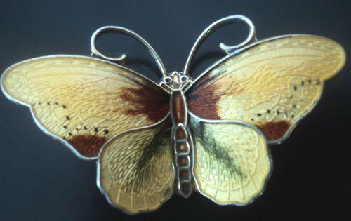 LARGE Silver Enamel Butterfly Brooch - Hroar Prydz Norway
