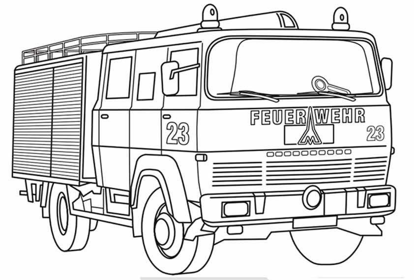 feuerwehrauto zum ausmalen – Ausmalbilder für kinder | Feuerwehr ...
