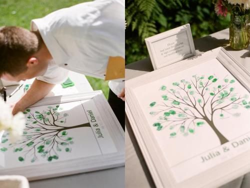 Thumbprint tree guestbook --- white frames