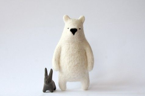 felted bear and bunny