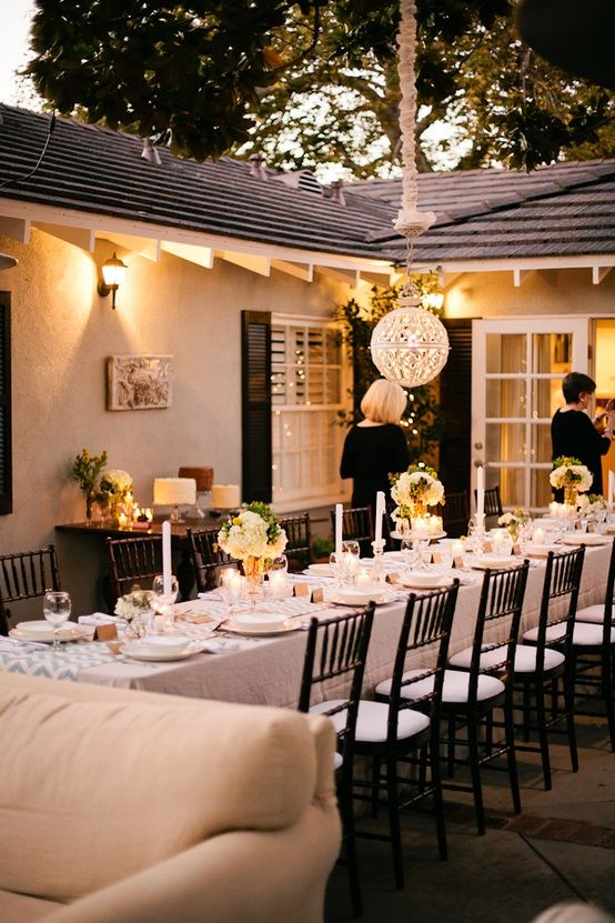 Nice Wedding Dinner Party Ideas Part - 2: Backyard Chic Wedding Or Rehearsal Dinner