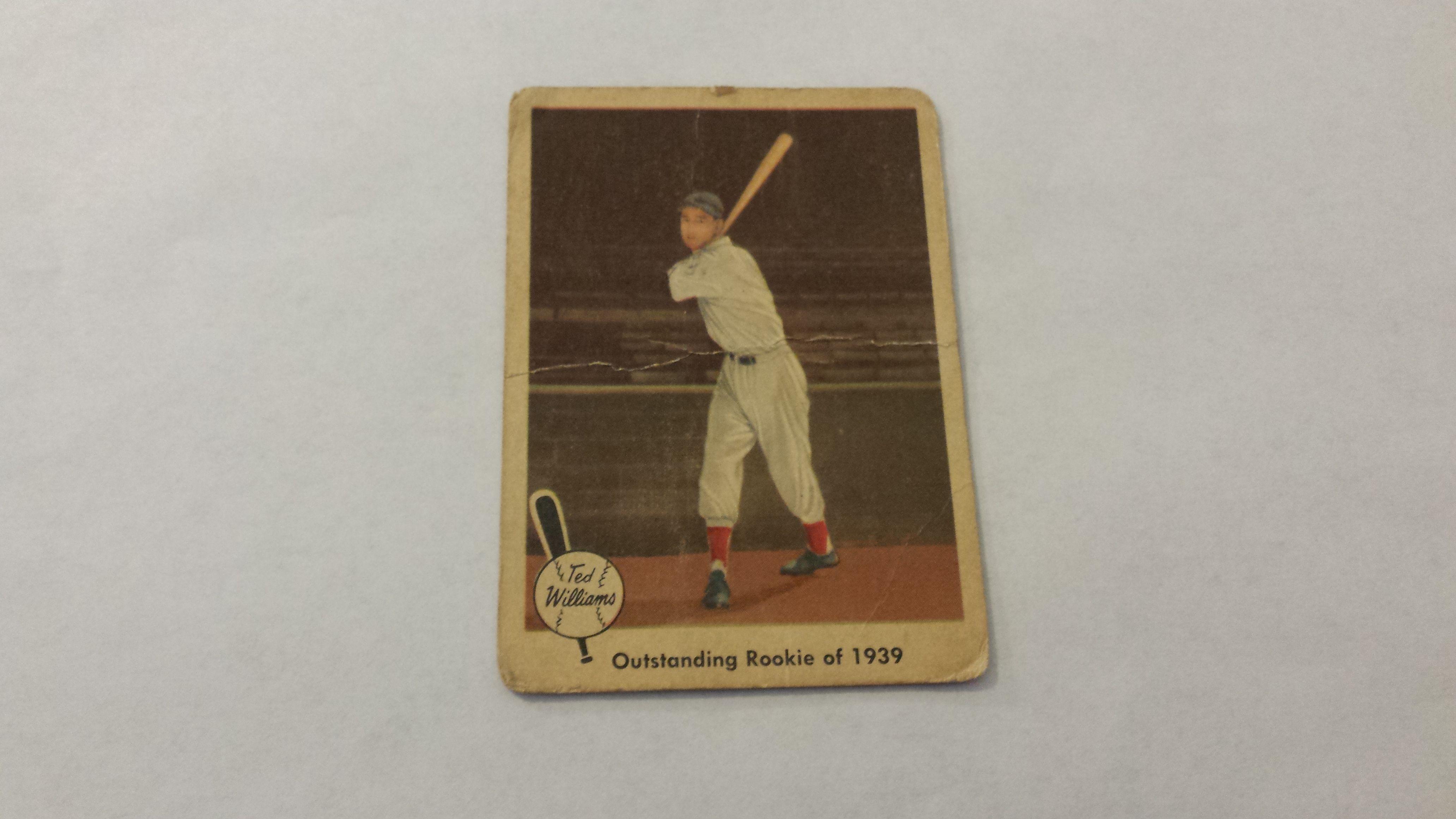 1959 fleer ted williams outstanding rookie of 1939 single
