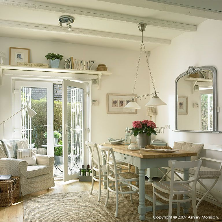 Large dining room French doors painted beams large