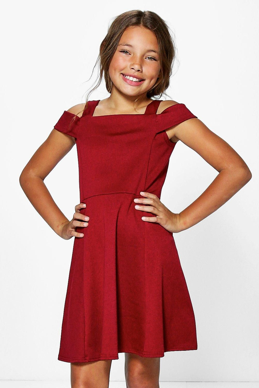 Girls Bardot Open Shoulder Skater Dress  e7f321324