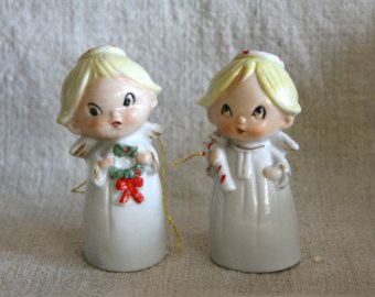 Vintage Pair of Tiny Angel Bell Ornaments from Japan