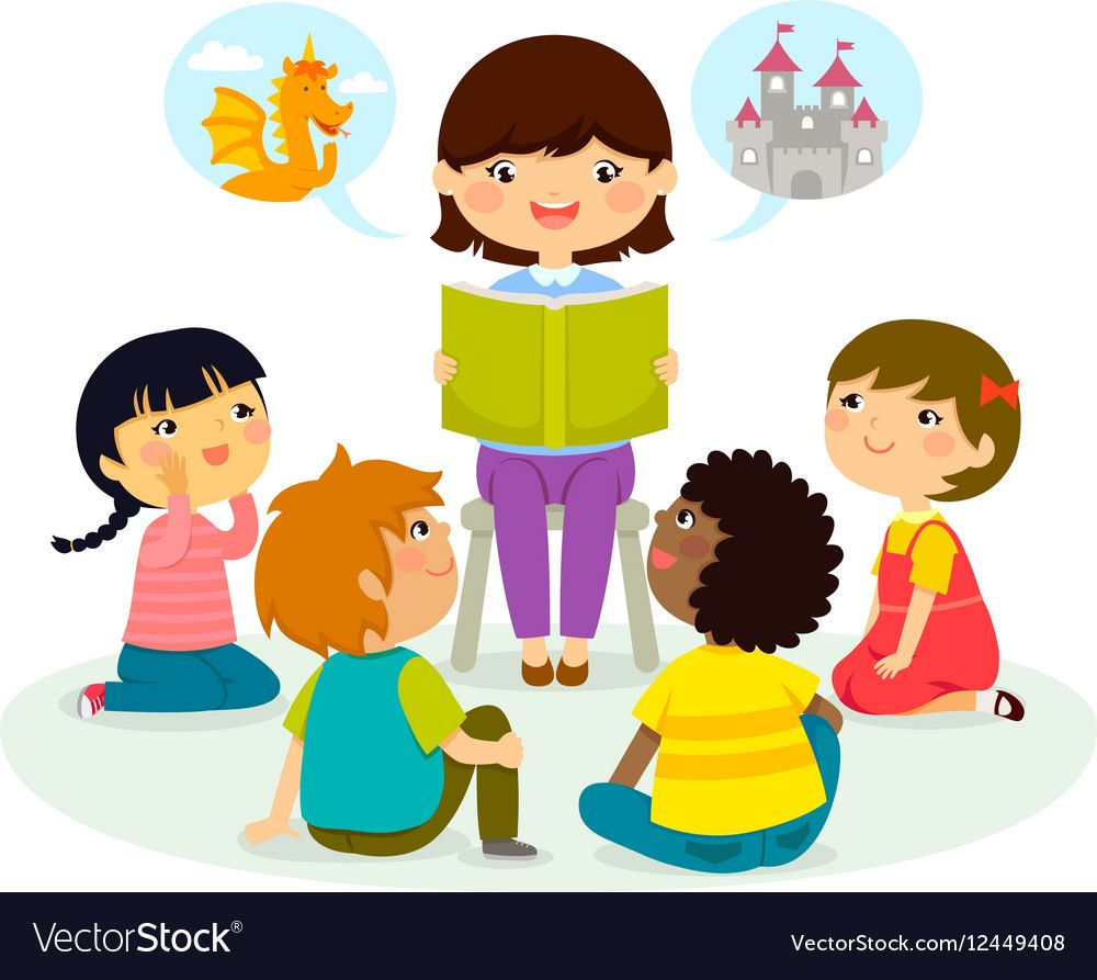 Story Time Royalty Free Vector Image Vectorstock Kids Clipart Students Vector Kids Reading